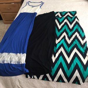 various Dresses - 3 piece Maxi bundle: 2 skirts, 1 dress
